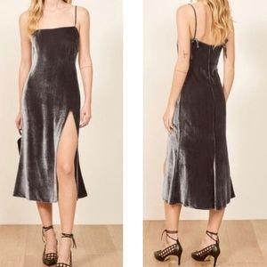 NWOT Reformation | Ariana Velvet Slip Dress Silver